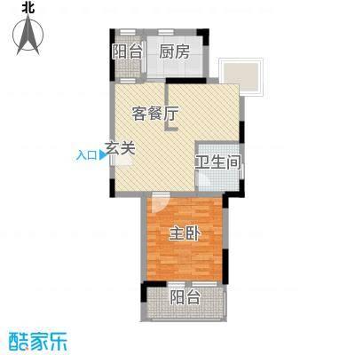 中港城世家64.00㎡A3(04)户型1室1厅1卫1厨