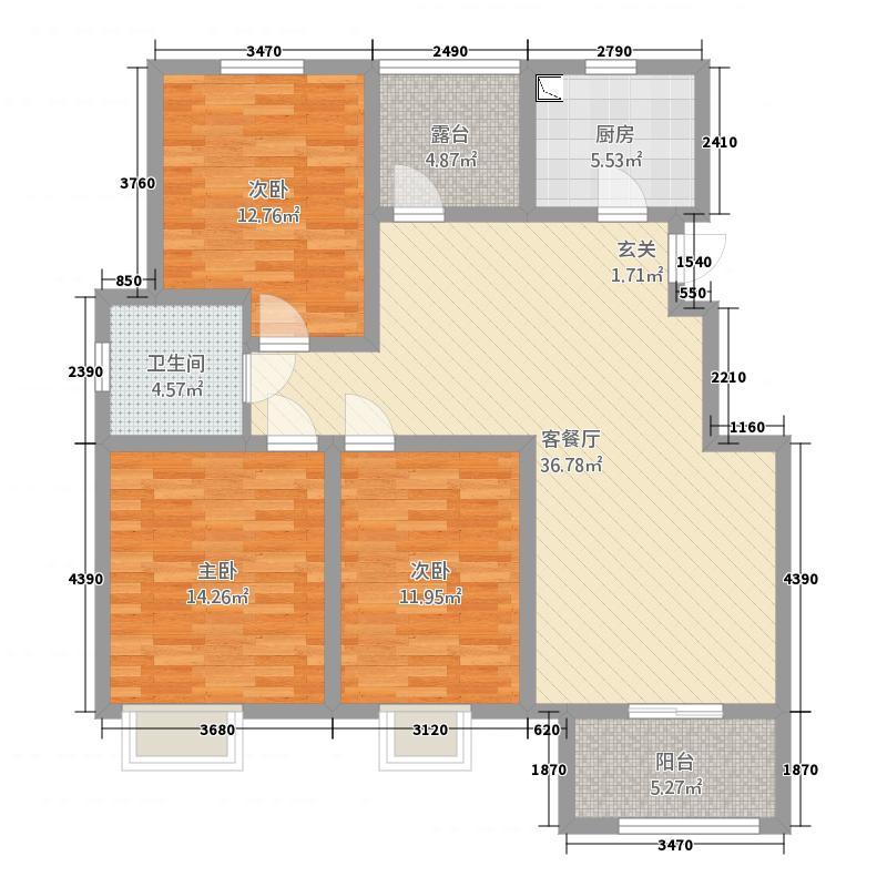 沭阳仰龙湾346平方户型原始结构图