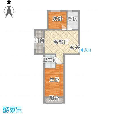 天格东湖湾73.93㎡19#20#H-1户型2室2厅1卫