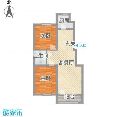 天格东湖湾87.76㎡1#2#3#4#XG-1户型2室2厅1卫