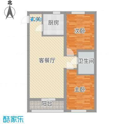 天格东湖湾85.54㎡19#20#H-3户型2室2厅1卫