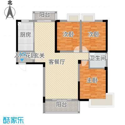 北湖名门峰尚二期133.64㎡B户型3室3厅1卫1厨