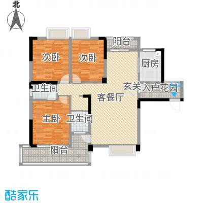 北湖名门峰尚二期135.43㎡D户型3室3厅2卫1厨
