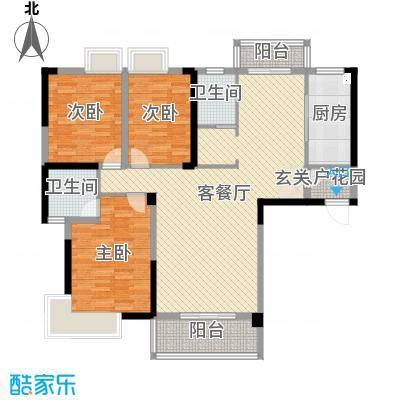 北湖名门峰尚二期139.21㎡A户型3室3厅2卫1厨