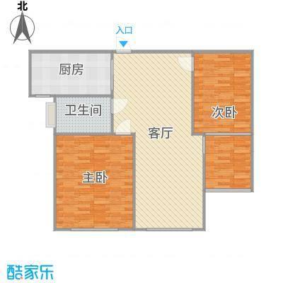 京杭明珠79.04方E户型两室两厅一卫