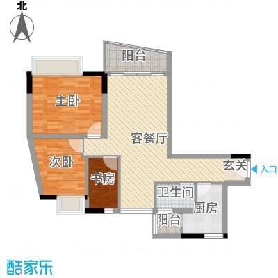 云翠豪苑90.00㎡F户型3室2厅1卫1厨-副本