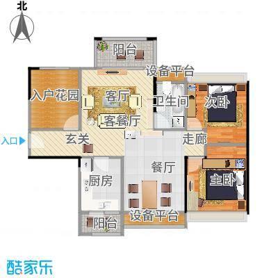 龙光海悦城邦3期89.27㎡1、2栋01、02户型3室2厅1卫-副本
