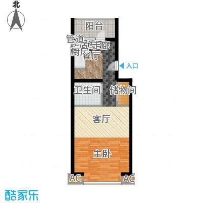 丽园B区丽园B区户型图B区22.24号楼标准层1室1厅1卫1厨户型1室1厅1卫1厨-副本
