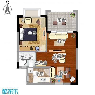 珍珠湾·风情小镇55.05㎡珍珠湾风情小镇B户型1室1厅-副本