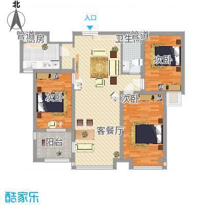 荣盛锦绣花苑124.00㎡10#11#标准层户型3室2厅1卫1厨-副本
