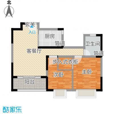 万业・观山泓郡84.00㎡高层A户型3室3厅1卫1厨