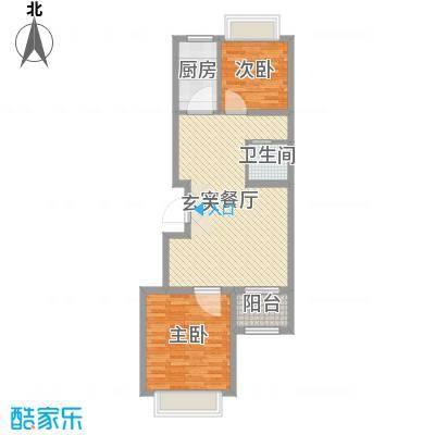 翡翠城79.30㎡C3号楼C1户型2室2厅1卫1厨