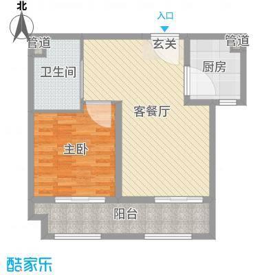 世嘉・正园75.35㎡26#一居户型1室1厅1卫1厨
