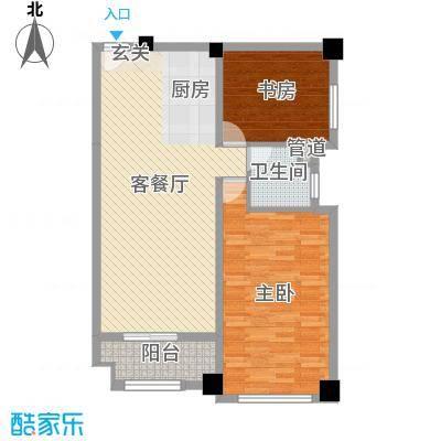 恒大雅苑104.15㎡1#楼、2#楼B户型2室2厅1卫1厨