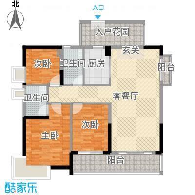 丽丰棕榈彩虹133.00㎡1/2幢03户型3室3厅2卫1厨
