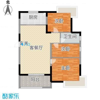 ��泊湾120.00㎡一期标准层户型3室3厅1卫1厨