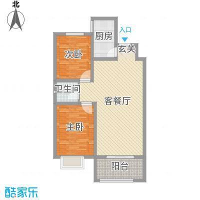 润德天悦城88.89㎡B-4#标准层4B户型2室2厅1卫1厨