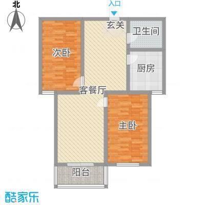 钰泰九龙苑99.65㎡一期B户型2室2厅1卫1厨