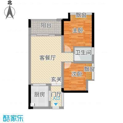 金河湾豪庭75.52㎡5幢03户型2室2厅1卫1厨