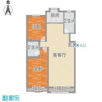 九龙明珠116.00㎡一期小高层标准层L户型2室2厅1卫1厨