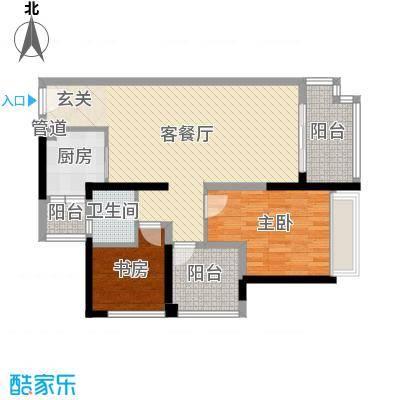 中信凯旋城88.00㎡六期D2-D7、D12、D19栋F1户型2室2厅1卫1厨