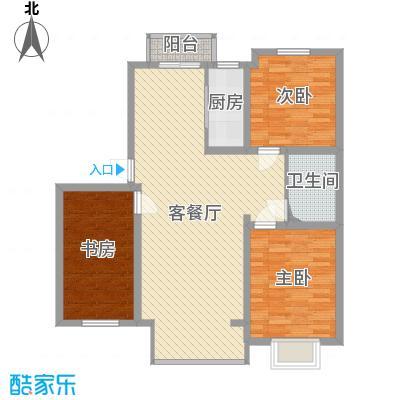 滨河湾115.50㎡户型3室2厅1卫1厨-副本