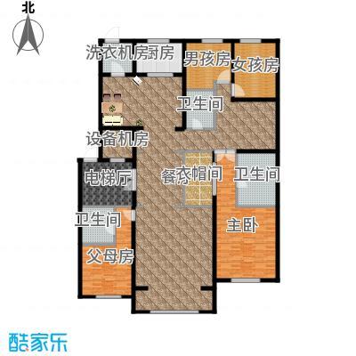 中海紫御华府240.00㎡一期标准层B户型4室3厅3卫
