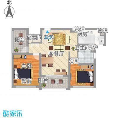 绿地启航社5期88.00㎡D-4户型2室1厅1卫1厨-副本