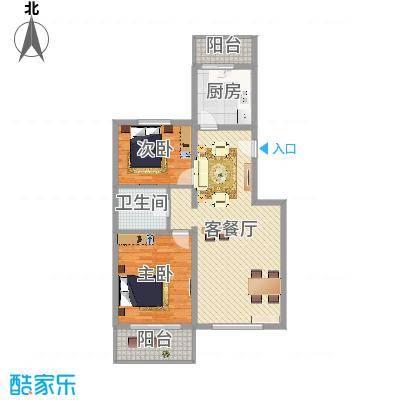 鑫兆丽园亚北新区103.98㎡户型B1户型2室2厅1卫1厨-副本