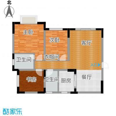 天骄年华103.61㎡房型户型3室1厅2卫1厨-副本