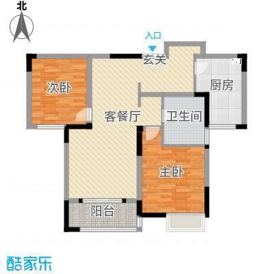 华仁凤凰城103.00㎡8#02户型2室2厅1卫1厨