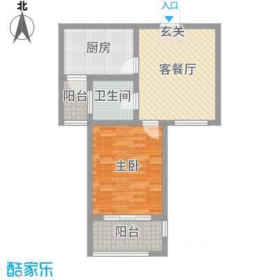 九华学府62.00㎡二期7#楼标准层A2户型1室1厅1卫1厨