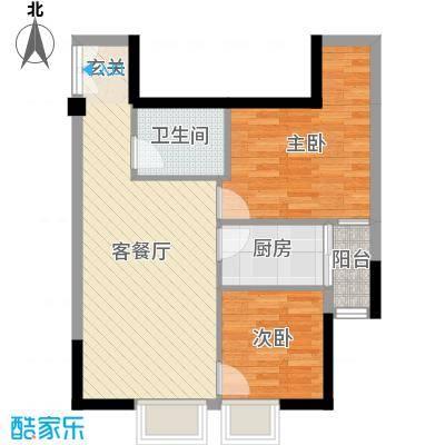 艺墅南岸二期香槟公寓64.72㎡F3户型2室2厅1卫-副本