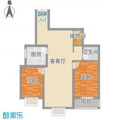 东城国际85.43㎡东尚国际B1户型2室2厅1卫1厨