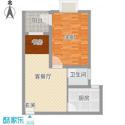 八里街1号59.41㎡1#楼B2户型2室2厅1卫1厨