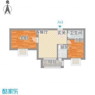 万达杰座50.90㎡B栋50.90平米户型2室1厅1卫1厨-副本