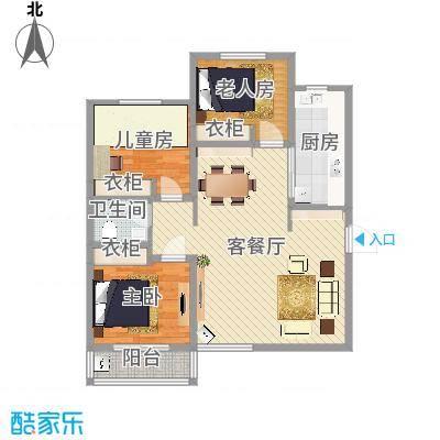 丽景名都三期117.78㎡1#楼D户型3室2厅1卫1厨-副本-副本-副本