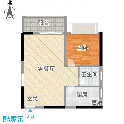 广汇・东湖城61.12㎡11/12#楼标准层04/05户型1室1厅1卫1厨
