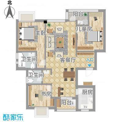 银河湾109平户型三室两厅-副本