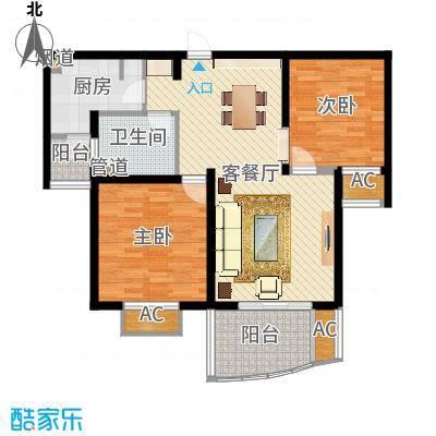 杉林新月家园85.00㎡上海户型2室2厅1卫1厨-副本