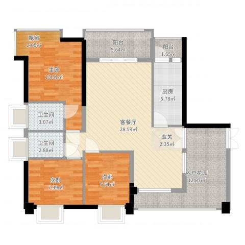 钰海山庄128.30㎡第1栋0户型3室2厅2卫-副本-副本-副本