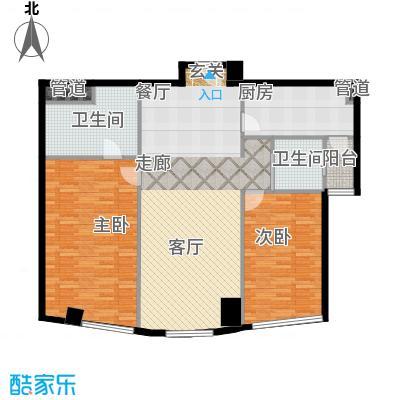 艾格美国际公寓123.00㎡M户型2室1厅-副本
