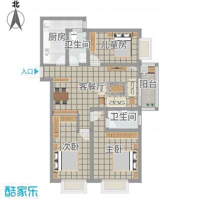 迎西城・龙湾佳园122.50㎡E户型-现代简约-王先生