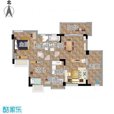石竹山水园97.00㎡石竹山水园2室2厅户型2室2厅-副本
