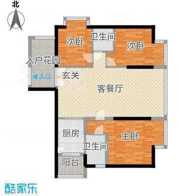 景山一号124.80㎡B(三单元)02户型3室2厅2卫-副本