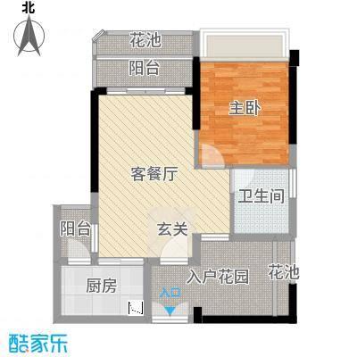 东方・比华利山庄67.56㎡8栋单张4户型2室2厅1卫1厨