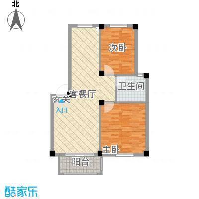 滨江丽景89.00㎡D6户型2室2厅1卫1厨