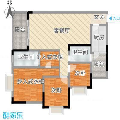 樽憬财富广场139.00㎡三居室户型3室3厅2卫1厨