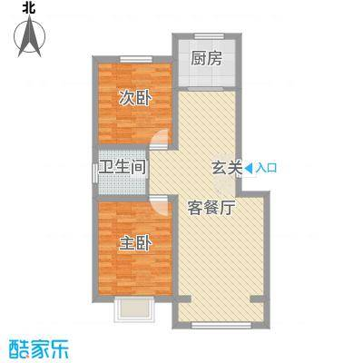 鑫大成・御龙湾85.59㎡1#、2#、13#、14#A户型2室2厅1卫1厨