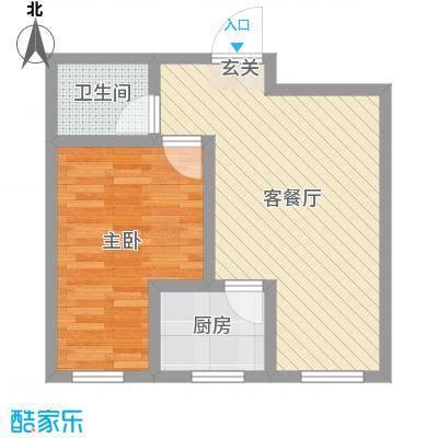 隆苑丽舍52.70㎡二期多层D户型1室1厅1卫1厨